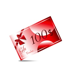 Gift voucher with red ribbon and bow on red vector