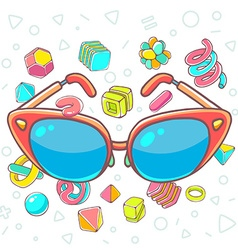 Colorful of red sunglasses on white backgrou vector