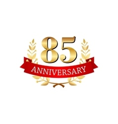85 years anniversary golden label with ribbons vector