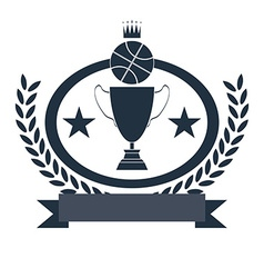 Basketball golden goblet and crown vector