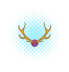 Deer head icon comics style vector image