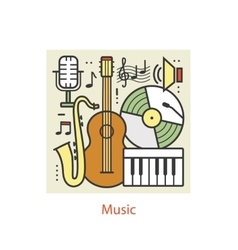 Modern color thin line art design music vector