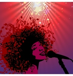 Head of woman with hair as musical symbols vector
