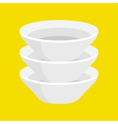 Kitchen household cutlery clean teacups and white vector