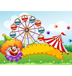 An empty board in front of the ferris wheel vector image vector image