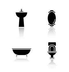Bathroom interior drop shadow icons set vector