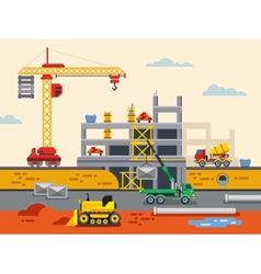 Building Construction Flat Design Concept vector image