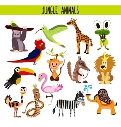 Cartoon Set of Cute Animals monkey lion Zebra vector image