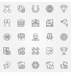 Casino line icons vector image vector image