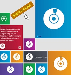 CD or DVD icon sign Metro style buttons Modern vector image