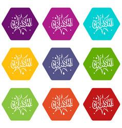 crash explosion icon set color hexahedron vector image vector image
