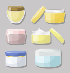 Cream jar set vector