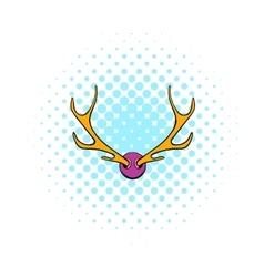 Deer head icon comics style vector