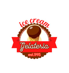 Gelateria ice cream in wafer cone icon vector