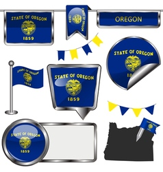 Glossy icons with Oregonian flag vector image vector image