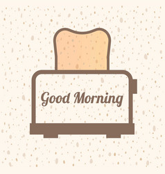 good morning text with bread symbol vector image vector image