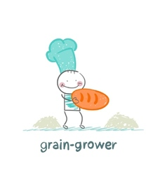 grain grower stands next to the bread vector image