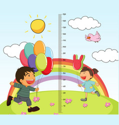 Growth mearsuring chart with girl and boy in park vector