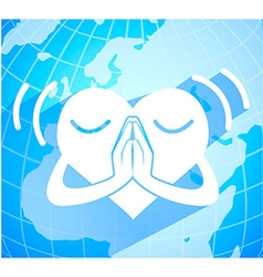 Heart pray for peace vector