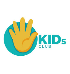 Kids zone logo template of child palm hands vector