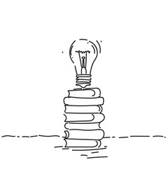 Light bulb on books stack new creative idea vector
