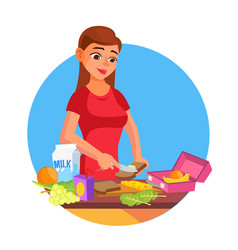 lunch box woman making tasty vegetarian vector image