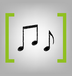 Music notes sign black scribble icon in vector