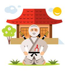 Ninja and dojo flat style colorful cartoon vector