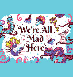 Print with characters from alice in wonderland vector