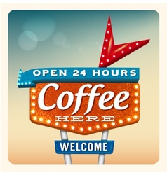 Retro neon sign coffee vector