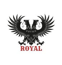 Royal double headed eagle black heraldic symbol vector