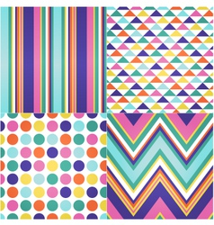 seamless stripes zigzag and polka dots background vector image vector image