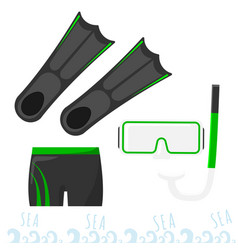 Set for snorkeling mask with a tube fins and vector