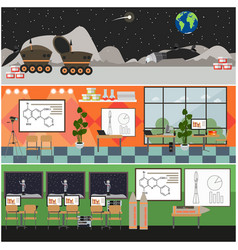 set of space interior posters banners in vector image vector image