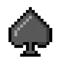 spade pixel playing cards poker gambling cartoon vector image