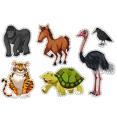 Sticker set with different wild animals vector