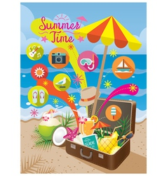 Suitcase with summer objects and icons on beach vector