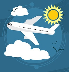 Sunny day The plane takes passengers to the resort vector image vector image