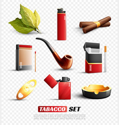 Tobacco products transparent background set vector