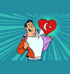 Turkey patriot male sports fan flag heart vector