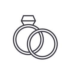 wedding rings with diamond line icon sign vector image vector image