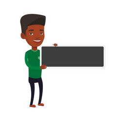 Young african-american man holding blank board vector