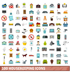 100 housekeeping icons set flat style vector