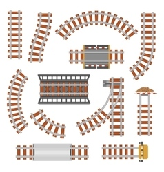 Rail or railroad railway top view vector