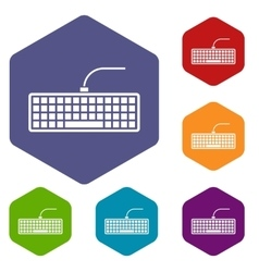 Black computer keyboard icons set vector