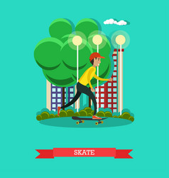a boy riding skateboard in vector image