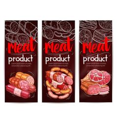Butcher shop meat sausages banners vector