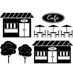 Black icon of cafe vector image
