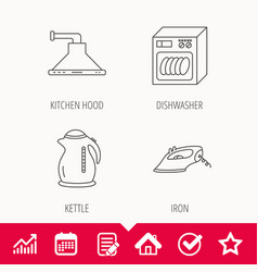 Dishwasher kettle and kitchen hood icons vector