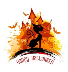 Scary cat in halloween night vector